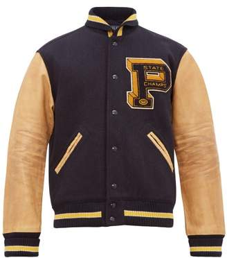 Polo Ralph Lauren Leather And Wool Blend Varsity Jacket - Mens - Navy