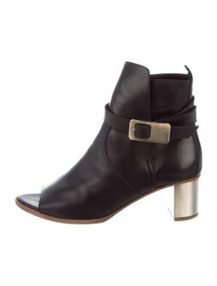 Hermes Leather Peep-Toe Boots Black