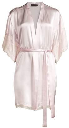 Natori Lolita Lace-Trim Silk Robe