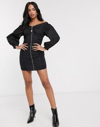 ASOS DESIGN zip through bodycon mini dress with ruching in black