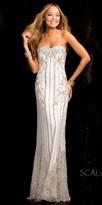Scala Linear Grecian Goddess Beaded Evening Dress