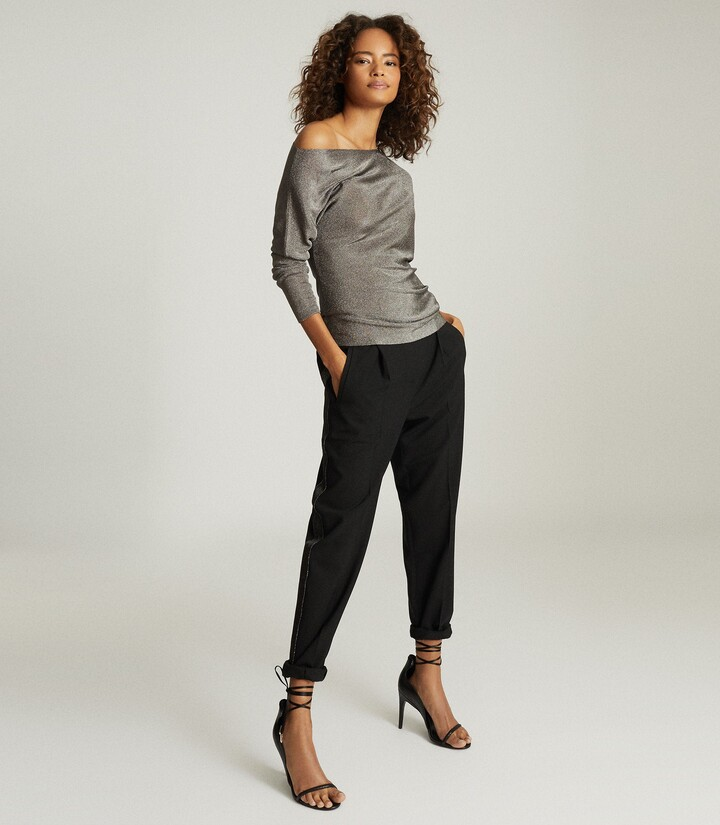 Thumbnail for your product : Reiss Isla - Metallic Asymmetric Top in Charcoal