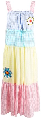 Mira Mikati Gingham Tiered Colour Block Dress