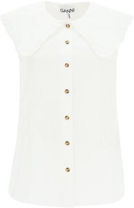 Ganni Sleeveless Shirt With Over Peter Pan Collar