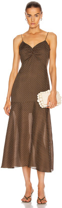 Alexis Nizarra Dress in Mocha Dot Linen | FWRD