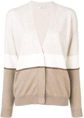 Brunello Cucinelli Colour-Block Fitted Cardigan