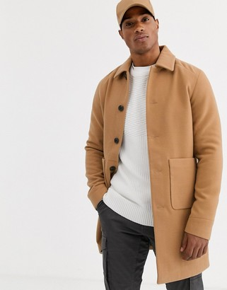 Jack and Jones Originals patch pocket coat in camel-Beige