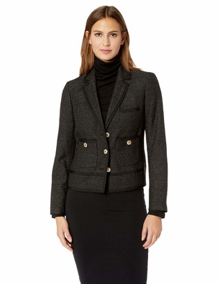 Kasper Women's 3 Button Notched Collar Tweed Jacket
