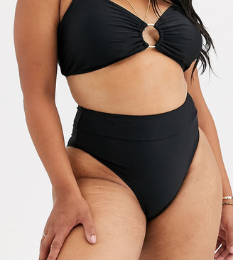 South Beach Curve Exclusive high waist bikini bottom in black