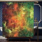 Wanranhome Custom-made shower curtain Space Set North American and Pelican Nebula Gas Cosmic Planetary Object in Outer Space Decor Orange Green For Bathroom Decoration