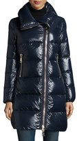 Moncler Joinville High-Collar Puffer Jacket, Navy