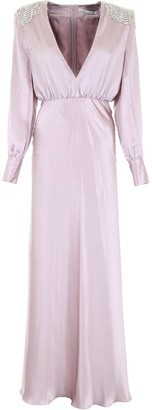 Alessandra Rich Silk Dress With Crystals