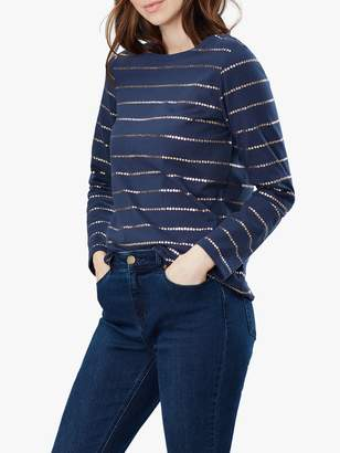 Joules Harbour Jersey Star Stripe Long Sleeve Top, Navy Stripe