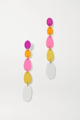 Roxanne Assoulin Pop Drop Enamel And Gold-tone Earrings - Pink