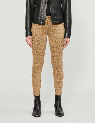 Frame Service cheetah-print straight high-rise jeans