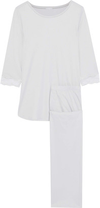 Hanro Lace-trimmed Cotton-jersey Pajama Set