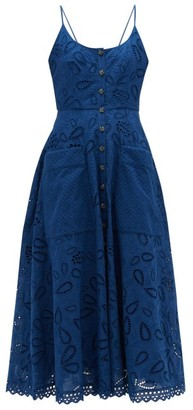 Saloni Fara Cotton Broderie Anglaise Midi Dress - Dark Blue