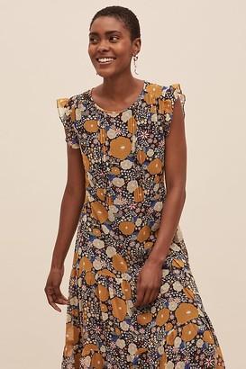 Anthropologie Jameela Floral Ruffled Midi Dress