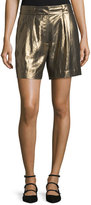 Elizabeth and James Paxton Single-Pleat Lamé; Shorts, Gold