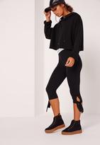 Missguided Cropped Tie Knee Leggings Black