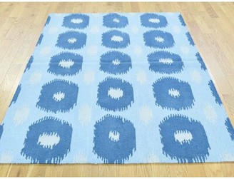 Braun Isabelline One-of-a-Kind Geometric Design Reversible Handmade Kilim Blue Wool Area Rug Isabelline