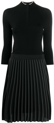 Karl Lagerfeld Paris Pleated Skirt Knitted Dress