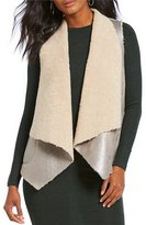 French Connection Arleen Metallic Faux Shearling Drape Front Vest