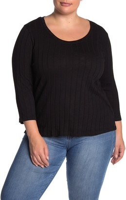 Sanctuary Ruby 3/4 Length Sleeve Ribbed Knit Top (Plus Size)
