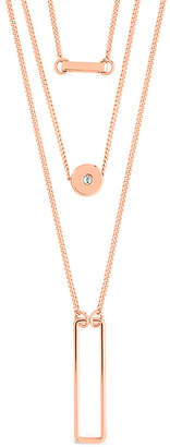 Sterling Forever 14K Rose Gold Plated Cz Disk & Open Bar Layered Necklace