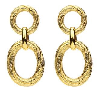 Ben-Amun Textured Hoop Post & Oval Drop Earrings
