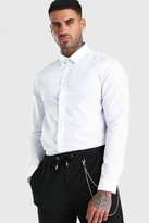 boohoo Mens White MAN Official Back Neck Embroidered Shirt, White