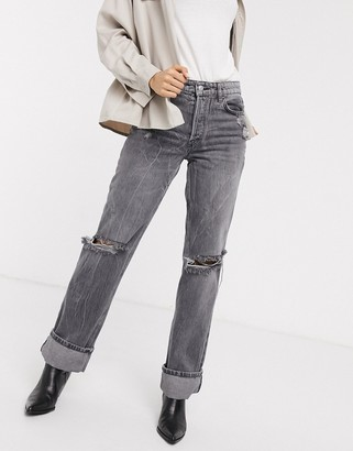 We The Free by Free People Wild Flower ripped straight leg jeans