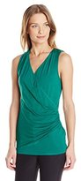 Karen Kane Women's Sleeveless Faux Wrap Top