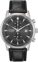 Citizen Eco-Drive Men's Chronograph Corso Black Leather Strap Watch 43mm