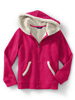 Lands' End Girls Sherpa Lined Hoodie-Spiced Berry