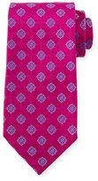 Charvet Medallion-Print Silk Tie, Pink/Blue