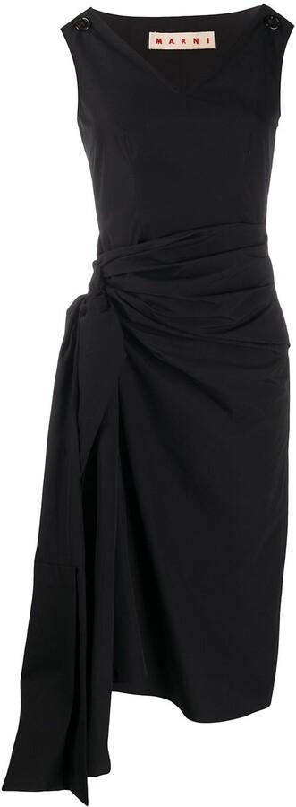 Marni Gathered Side Midi Dress