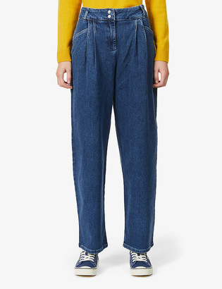Benetton High-rise relaxed stretch-denim jeans