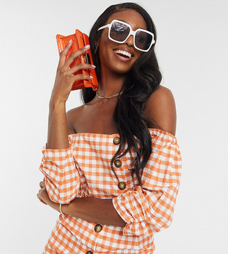 Influence Tall crop top with button detail in gingham two-piece