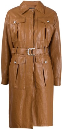 Pinko Faux Leather Trench Coat