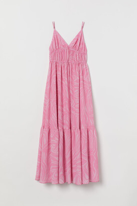 H&M Textured-weave Maxi Dress - Pink