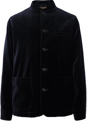 Favourbrook Navy Nehru-Collar Cotton-Velvet Jacket