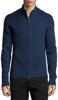 Neiman Marcus Ribbed Zip-Front Sweater, Cosmos