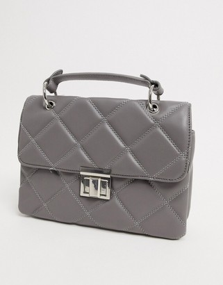 Stradivarius Patent cross body bag with chain detail in grey