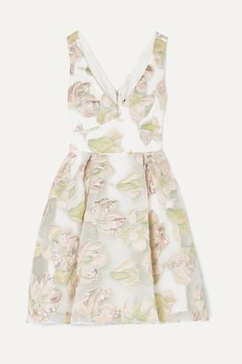 Marchesa Metallic Fil Coupé Tulle Mini Dress - Ivory