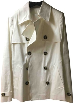 Pinko White Cotton Trench Coat for Women