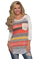 Jade Onlines Jade Women's Striped Lace O-Neck long Sleeve T-shirt Blouse with Pocket