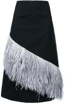 Le Ciel Bleu feather a-line skirt