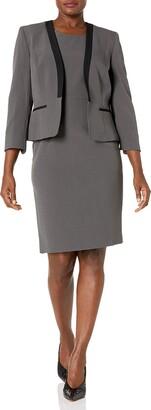 Le Suit LeSuit Women's Collarless Jacket Dress with Trim Detail