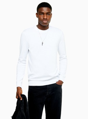Topman White Essential Knitted Jumper